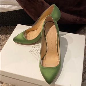 Charlotte Olympia party shoes green silk
